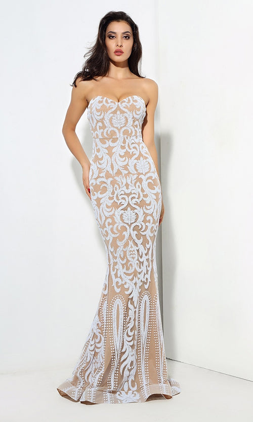 Meant To Be White Sheer Mesh Glitter Lace Sleeveless Spaghetti Strap Sweetheart Neck Maxi Dress