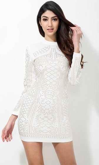 Jealous Lover White Gold Geometric Studded Beaded Long Sleeve Mock Neck Bodycon Mini Dress - Sold Out