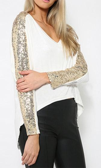 Planet Rock White Gold Sequin Long Batwing Sleeve V Neck Asymmetric High Low Shirt - Sold Out