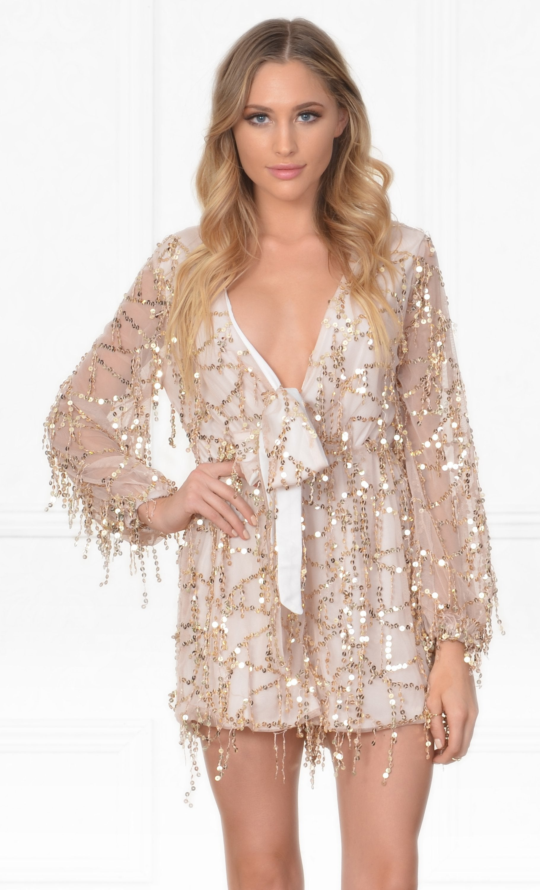 Indie XO Dream Maker White Gold Sequin Fringe Long Sleeve Cross Wrap V Neck Romper  -  Sold Out