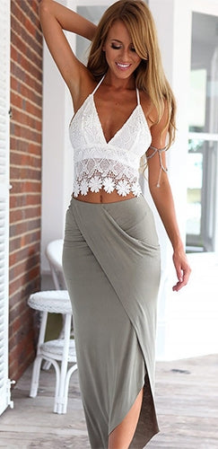 Into The Mystic White Grey Lace Sleeveless Spaghetti Strap V Neck Crop Halter Wrap Skirt Two Piece Maxi Dress
