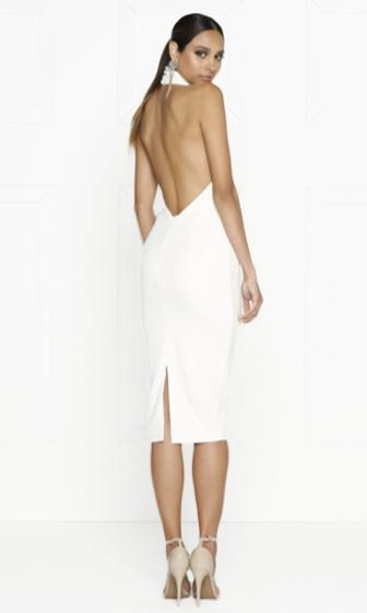 Major Scale White Sleeveless High Neck Backless Halter Cut Out Lace Up Bodycon Midi Dress - Sold Out