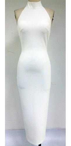 Bridgette White Sleeveless Halter Mock Neck Bodycon Maxi Dress - Inspired by Kim Kardashian