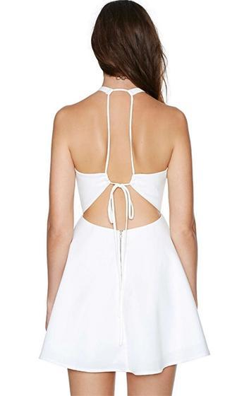 Hotel California White Sleeveless Halter Cut Out Back Skater Circle A Line Flare Mini Dress - Sold Out