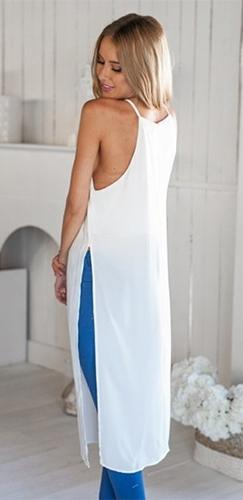 Go With The Flow White Spaghetti Strap Square Neck High Side Slit Long Tank Midi Dress  - Sold out