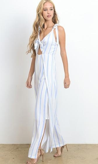 Ground Game White Blue Vertical Stripe Sleeveless V Neck Cut Out Wide Leg Jumpsuit (Pre-Order) - Sold Out