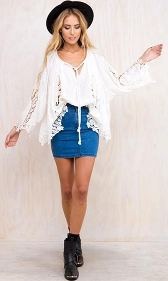 Easy Rider White Long Bell Sleeve Lace Tie V Neck Blouse- Sold Out