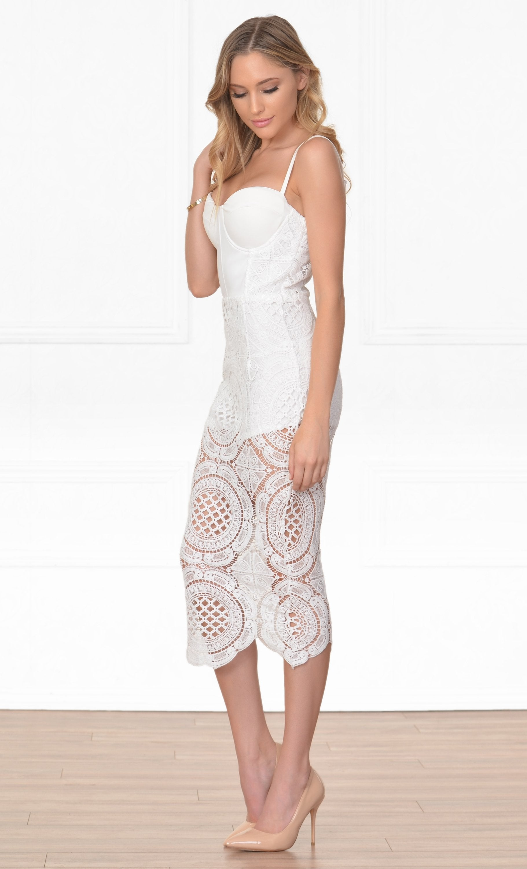 Indie XO Anything Goes White Lace Spaghetti Strap Sweetheart Neck Bustier Bodycon Midi Dress - Sold Out