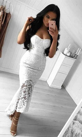 Sweeten The Deal White Sheer Lace Strapless Bustier High