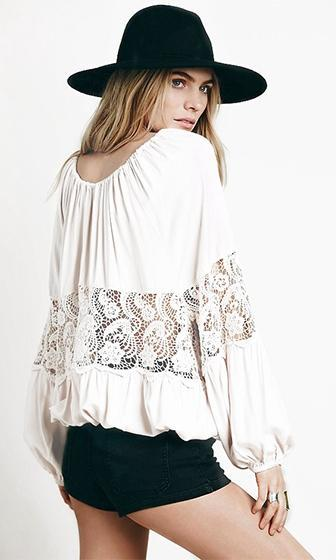Lost Stars White Long Bat Sleeve V Neck Sheer Lace Gathered Chiffon Blouse - Sold out
