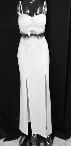 Endless Love White Lace Two Piece Bra Bustier Crop Top Double Slit Maxi Skirt Dress  -  Out of Stock!!