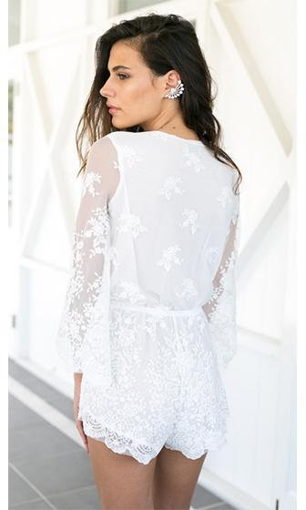 4f13cae7269 Hooked On Love White Sheer Mesh Lace Long Sleeve Cross Wrap V Neck Romper  Playsuit -