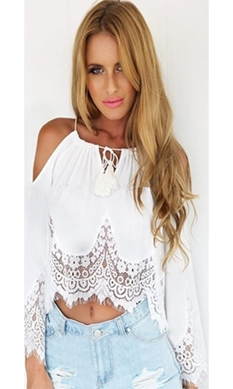 Circle of Life White Sheer Scallop Lace Spaghetti Strap Cut Out Shoulder Long Bell Sleeve Loose Crop Top - Sold Out