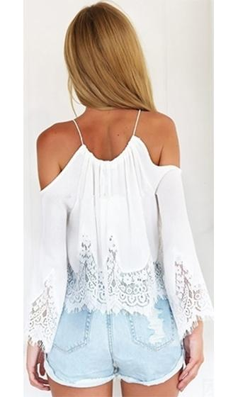a84539563c91 Circle of Life White Sheer Scallop Lace Spaghetti Strap Cut Out Shoulder  Long Bell Sleeve Loose