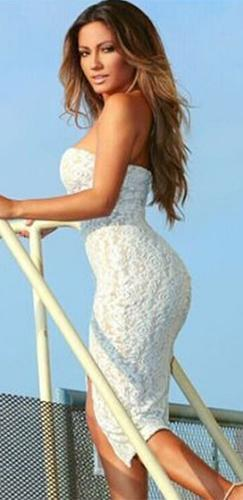 Crazy In Love White Lace Strapless V Neck Front Slit Bodycon Midi Dress - Sold Out