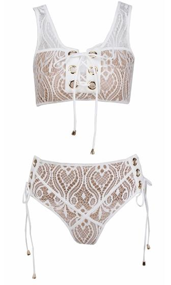 Do Not Disturb White Lace Overlay Beige Lined Grommet Tie Front Side High Waisted Two Piece Bikini Swimsuit - Sold Out