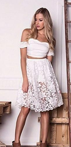 0e2d8b6a9ddd0d La La Land White Off The Shoulder Crop Top Sheer Lace A Line Midi Skirt Two