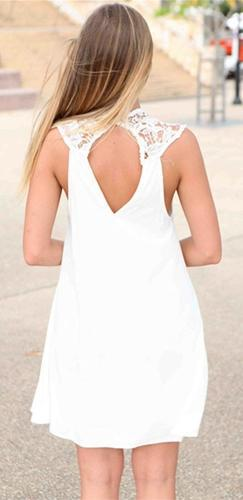 Foolish Heart White Sheer Lace Sleeveless Crew Neck Cut Out Back A Line Loose Mini Dress - Sold Out