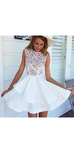 Fairytale Flirt White Sheer Lace Sleeveless Scoop Neck Double Tier Skater Circle A Line Flare Mini Dress - Sold Out