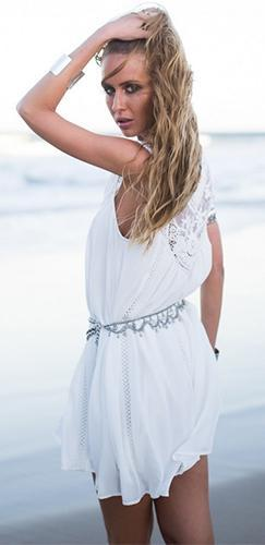 By the Sea White Sheer Mesh Lace Sleeveless Scoop Neck Loose Shift Mini Dress - Sold Out