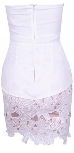 Coconut Cake White Lace Strapless Cut Out V Neck Peplum Ruffle Bodycon Mini Dress - Sold Out