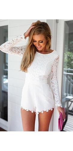 Love Lost White Lace Long Sleeve Scoop Neck Open Back Scallop Short Romper