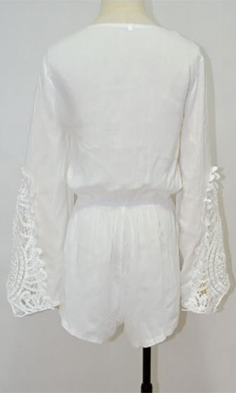 Child Of The Moon White Long Bell Sleeve Lace Trim Cross Wrap V Neck Short Romper  -  Out of Stock!!