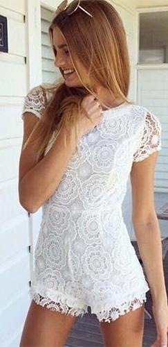 Laced Up White Lace Short Sleeve Crew Neck Lace Up Back Short Romper - Sold Out