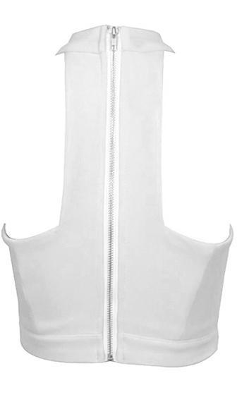 Buckle Up White Sleeveless Mock Neck Halter Cut Out Crisscross Lace Up Crop Tank Top - Sold Out