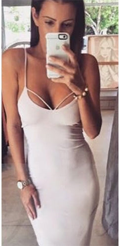 Love Me Harder White Red Black Spaghetti Strap Cut Out V Neck Bodycon Midi Dress - Sold Out