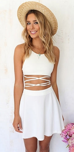 Play With Me Two Piece White Spaghetti Strap Scoop Neck Halter Crisscross Laced Cut Out Mini Skater Dress - Sold Out