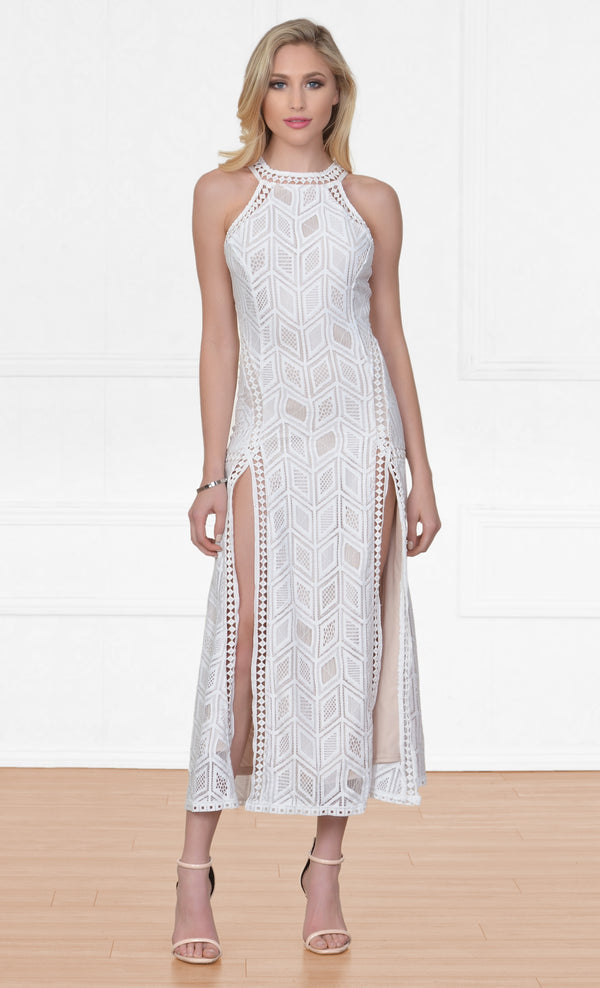 Indie XO Nowhere To Hide Off White Sleeveless Halter Cut Out Geometric Lace Crochet Double Slit Maxi Casual Dress - Inspired by Gigi Hadid