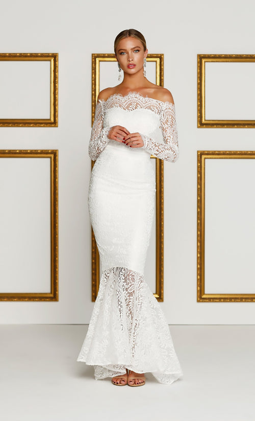 Last Dance White Lace Boatneck Scalloped Off The Shoulder Long Sleeve Mermaid Maxi Dress