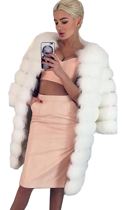 Like A Lady White Faux Fur Long Sleeve Round Neck Coat