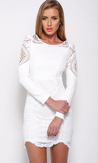 Lost In Love White Long Sleeve Lace Cut Out Scoop Neck Bodycon Mini Dress - Sold out