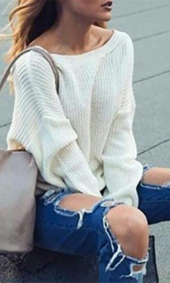 High Alert White Long Sleeve Deep V Loose Pullover Sweater  -  Sold Out