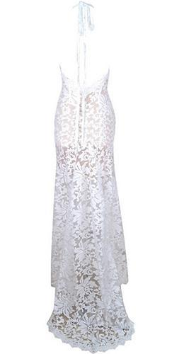 Love Forever White Sheer Mesh Lace Sleeveless Plunge V Neck Front Slit Maxi Dress -  Sold Out
