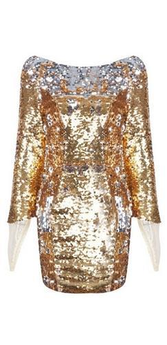 Gilded Cage White Metallic Sequin Boat Neck Low Back Mesh Trim Bodycon Mini Dress - Sold Out