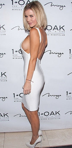 Champagne Please White Sleeveless V Neck Cut Out Side Low Back Bodycon Bandage Midi Dress - Inspired by Joanna Krupa - Sold Out