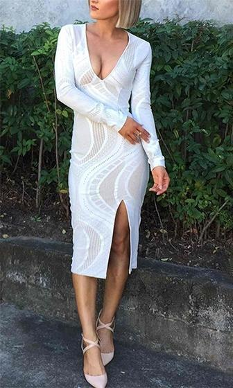 Hold Me Close White Long Sleeve Plunge V Neck Geometric Slit Bodycon Midi Dress - Almost Gone! - Sold Out