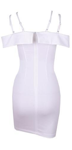 I Can't Wait White Double Spaghetti Strap Plunge V Neck Cut Out Bodycon Mini Dress - Sold Out!