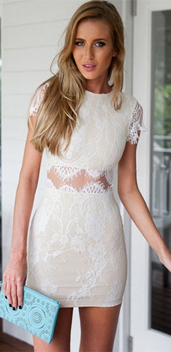 Full Of Grace White Lace Short Sleeve Scoop Neck Sheer Cut Out Waist Bodycon Mini Dress -  Sold Out