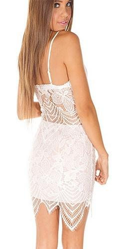 Born To Dream White Scallop Lace Spaghetti Strap V Neck Two Piece Bodycon Mini Dress - Sold Out
