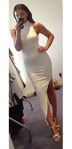 Broken Heart White Sleeveless Scoop Neck Halter Bodycon Asymmetric Mini Maxi Dress - Sold Out