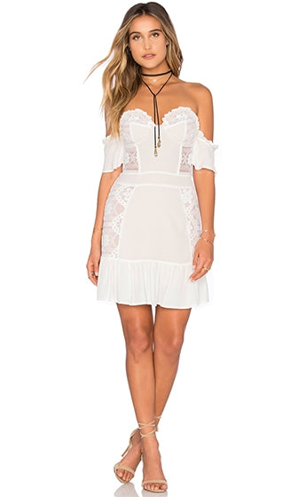 Park Slope White Beige Lace Off The Shoulder Ruffle Short Sleeve Mini Dress