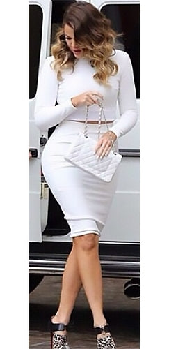 East Side White Long Sleeve Mock Neck Crop Top Bodycon Midi Skirt Two Piece Dress - Inspired by Khloe Kardashian - Sold Out