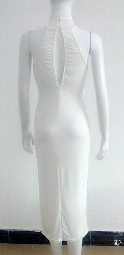 In The Middle White Sleeveless Mock Neck Halter Cut Out Back Bodycon Midi Dress - Sold Out