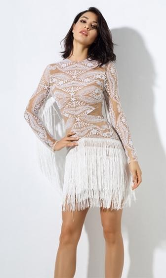 Fringe Flirtation Nude White Sheer Mesh Lace Long Sleeve Fringed Round Neck Mini Dress