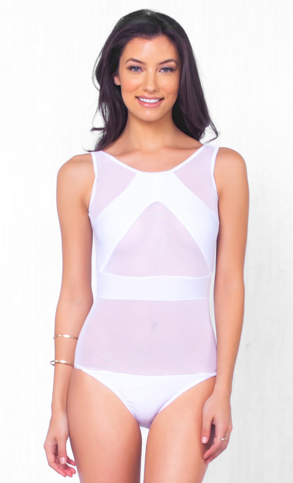 Indie XO No Peeking Nude White Sheer Mesh Sleeveless Scoop Neck One Piece Swimsuit Monokini -  Just Ours!!