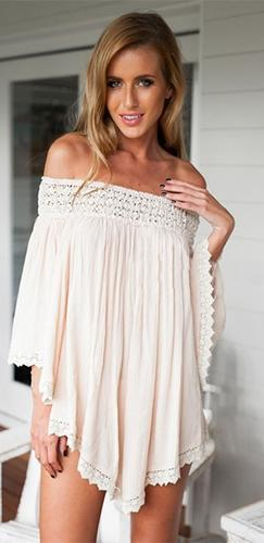 Open Heart White Lace Trim 3/4 Bell Sleeve Off The Shoulder Tunic Top Mini Dress - Sold Out